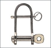 Flat shackle, AISI 304, st. steel, with bar :  6 mm
