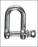 Galvanised steel shackle, D-shape :  5 mm