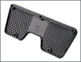Outboard transom pad in rigid non-clip plastic.