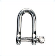 Forged shackle, AISI 316, st. steel, D-shape :  4 mm