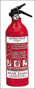 Portable fire extinguisher, powder, 1 kg ABC